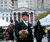 Dr. Takeshi Yamada and Seara (sea rabbit) by the Brooklyn Borough Hall in Brooklyn, NY on September 16, 2014.  20140916 069==2C