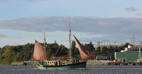16th September 2016. Brian Boru gaff rigged ketch on the River Suir at Cheekpoint, County Waterford, Ireland