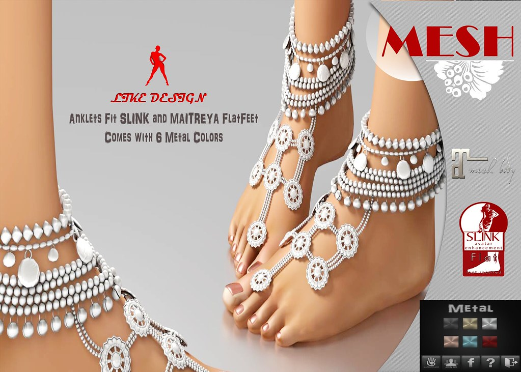 .: LIKE DESIGN :. Flatfeet Anklet V1 - SecondLifeHub.com