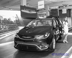 Winter and Chrysler Pacifica in Black & White