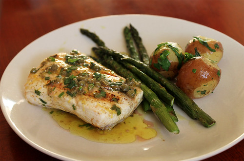 Grilled Halibut with Herb and Caper Vinaigrette