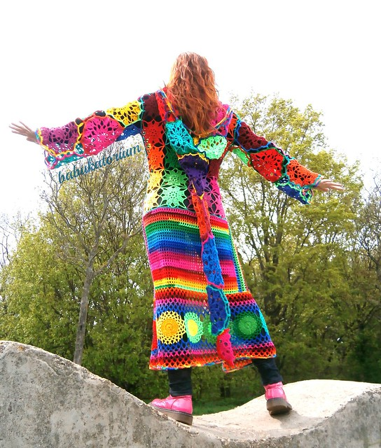 Kaleidocoat - Multicolor Multimotif Striped And Hooded Hippie ...
