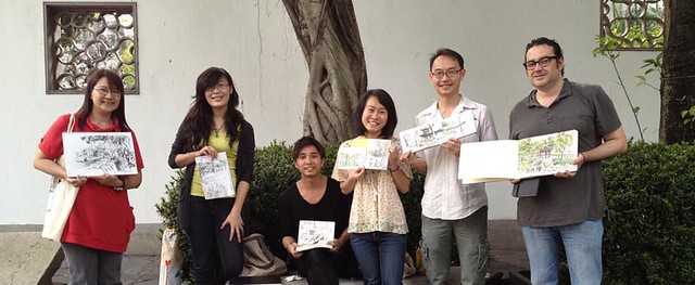 35th World Wide Sketchcrawl: Six Happy Faces!