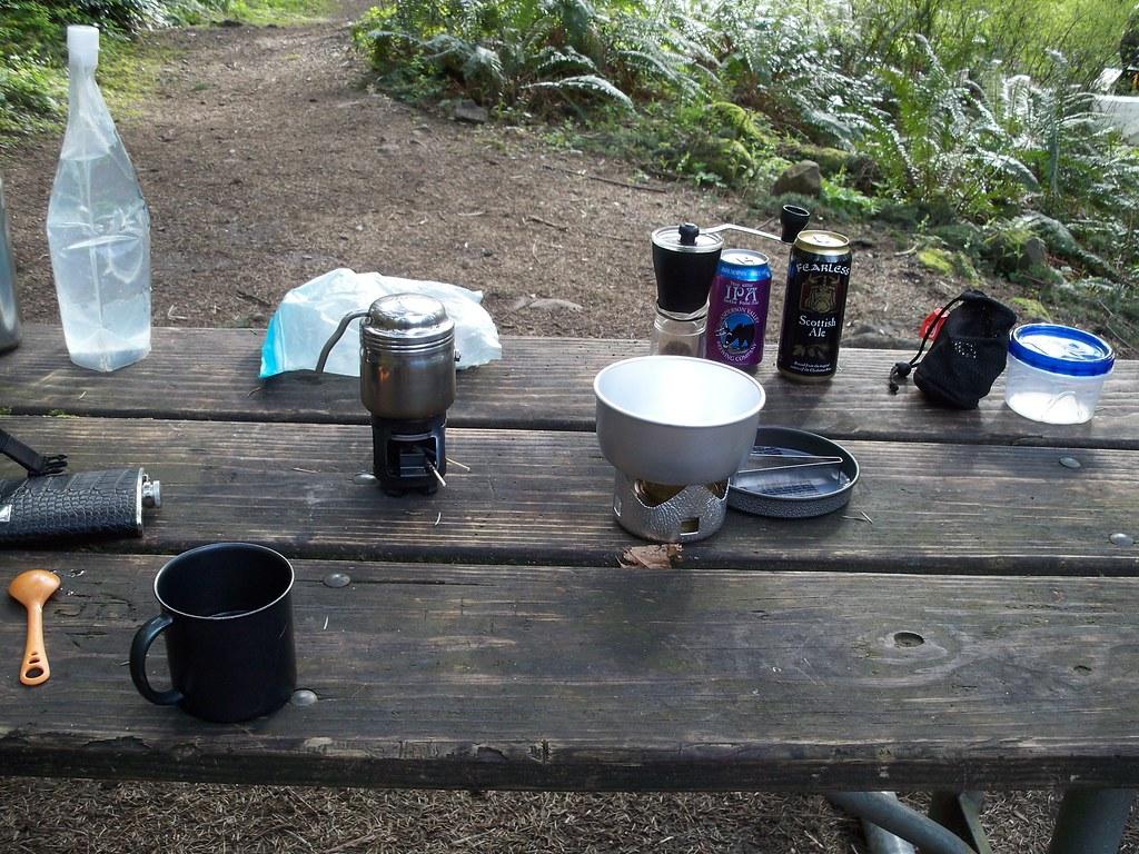 My camp kitchen | I brought my Esbit coffee maker and Trangi ...