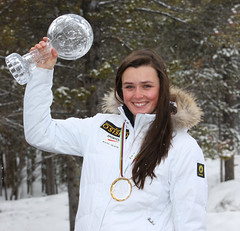 Marielle Thompson shows off her 2012 World Cup Crystal Globe.