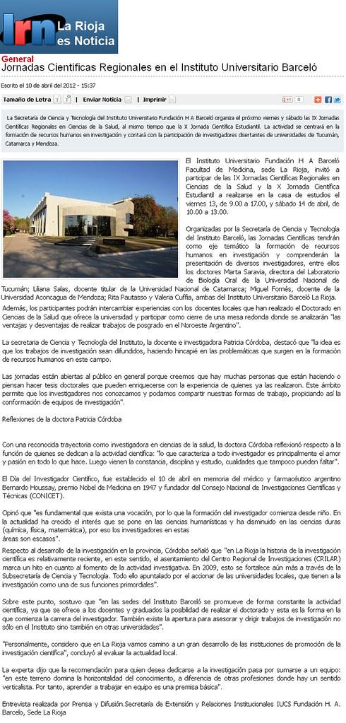 La Rioja es noticias - Jornadas Científicas - 10.4.12