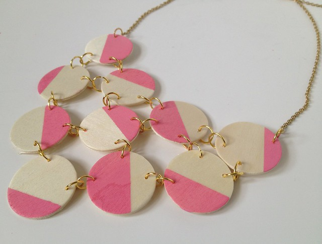 Pink + Wood Bib Necklace 11