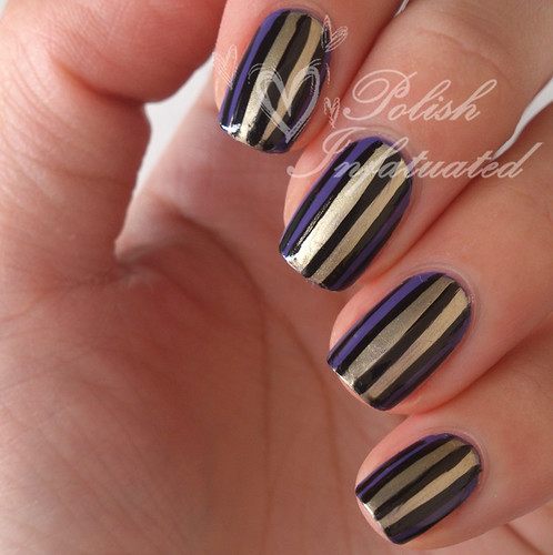 stripey purple, gold and black