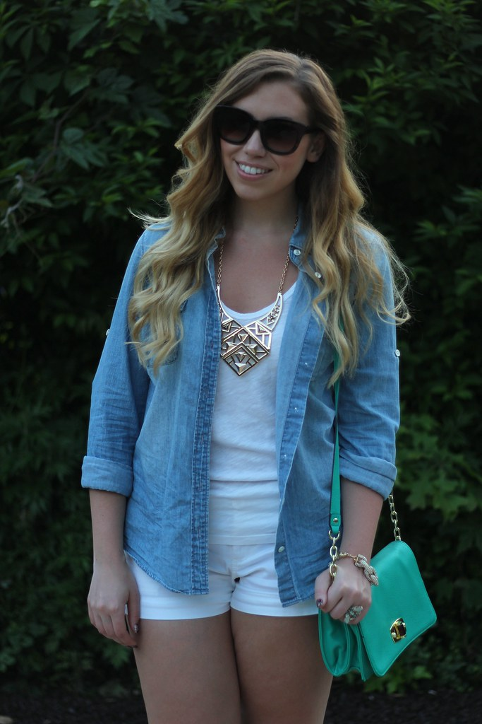 Living After Midnite: Jackie Giardina: Outdoor Party Outfit Style: White Shorts, JCrew Chambray Shirt