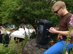 It's @doublejosh DJing from his iPhone at the Capitol Hill garage sale.  #chgsd #chgsale