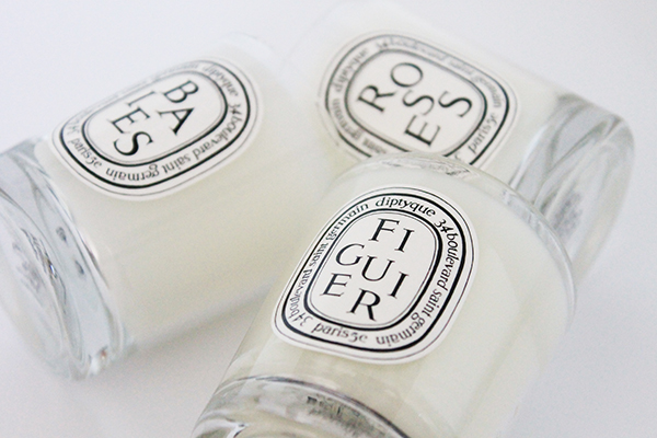 A review of Diptyque candle set including Baies, Figuer and Roses