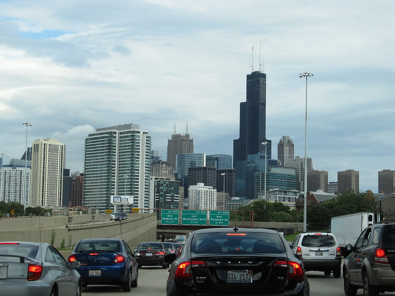Willis Tower and Downtown Chicago from John F  Kennedy Expressway, I