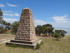 Charles Sturt Memorial cairn at Raukkan Aboriginal Mission. It overlooks Lake Alexandrina.