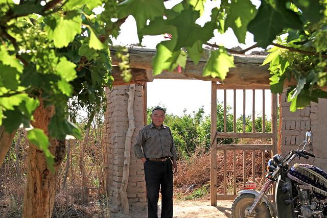 Smiling man at his orchard, Shanshan (Piqan) County ルクチュン、果樹園で微笑む男性