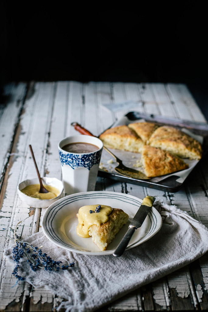 Buttermilk, Cornmeal, & Brown Butter Scones with Lavender Peach Curd