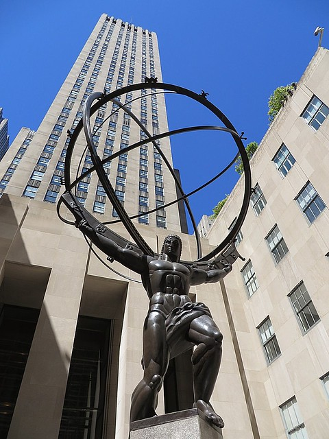 Bronze statue of Atlas by sculptor Lee Lawrie (1877-1963 ...