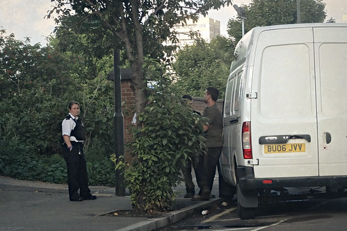 Police question a white van man
