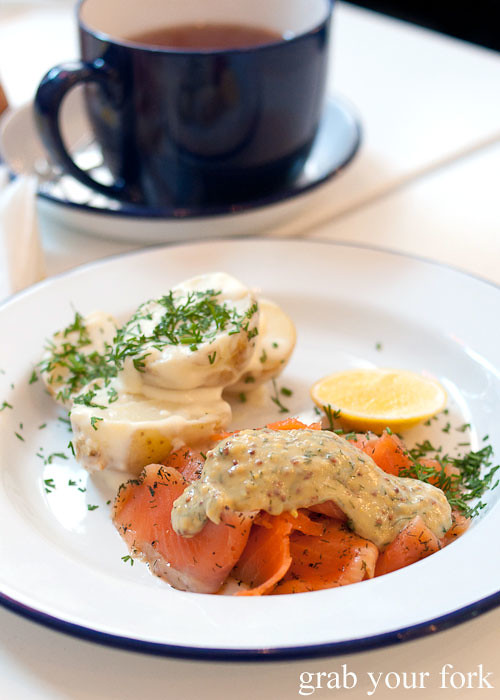 gravlax salmon and dill potato at fika swedish kitchen cafe manly