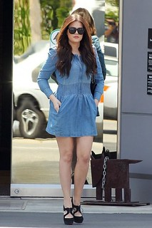 Khloe Kardashian Denim Dress Celebrity Style Women's Fashion