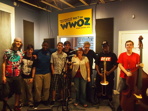 NOCCA does Cuttin' Class!  Brayden Turner (drums), Eddie Leiva (guitar), Thomas Glass (drums), Eliot Guerin (piano),  John Michael Bradford (trumpet), WWOZ's Crystal Gross, NOCCA's Michael Pellera, Jeffery Miller (trombone), and Jud Mitchell (bass).