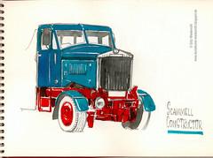 LKW, England, Scammell, Constructor, Aquarell, Farbzeichnung, Papieroriginal