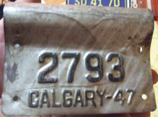 CALGARY ALBERTA 1947 ---BICYCLE LICENSE PLATE