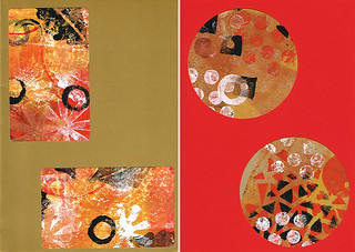 Cards made with Gelli® printed labels