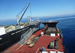 In this file photo, USNS Montford Point (MLP 1), right, is moored alongside USNS Dahl (T-AKR 313) during exercise Pacific Horizon off Camp Pendleton, Calif., in October. (U.S. Navy)