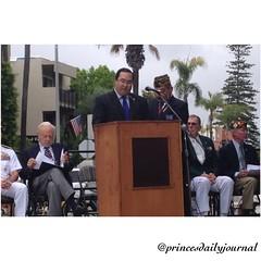 Mayor of Coronado, Casey Tanaka, giving a Memorial Day proclamation here in Coronado. Thank you mayor!  www.princesdailyjournal.com #princesdailyjournal #princeinthecity #coronado #thankyouforyourservice #salute #neverforget #military #memorialday