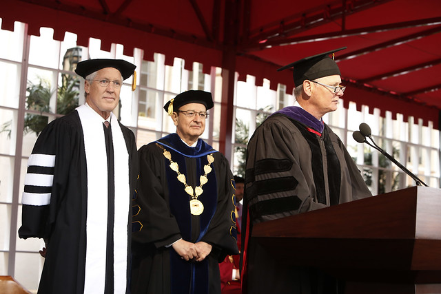Honorary Degree Recipient Pete Carroll, USC President C. L. Max Nikias, USC Athletic Director Pat Haden