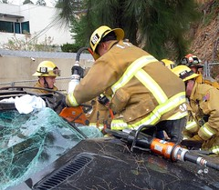 Driver Trapped When SUV Hits Tree in Studio City