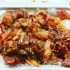 Spicy Teri poke bowl with salmon and tuna 👍
