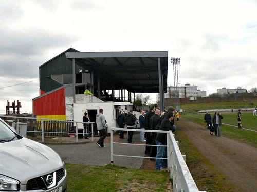 Stand from east, Cliftonhill Stadium, Coatbridge.