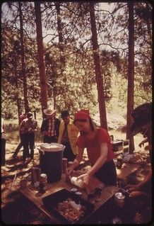 Lunch stop for members of Snake River raft trip through Hells Canyon..., 05/1973