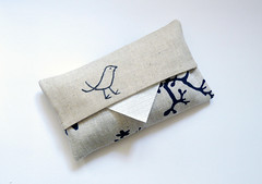 Taupe and navy tissue cover