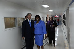 Secretary Kerry and Ambassador Johnson Cook Smile for a Photo