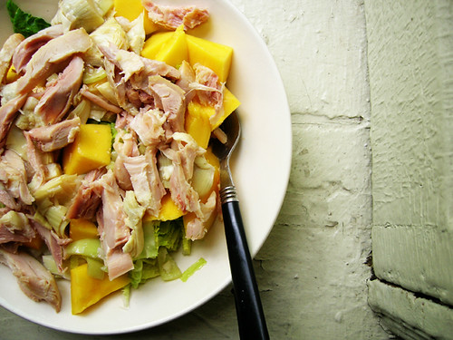 chicken, mango, and romaine salad with artichoke pepper vinaigrette
