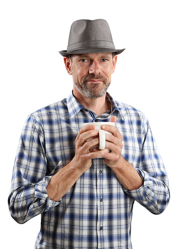 Man in Fedora with Coffee Cup