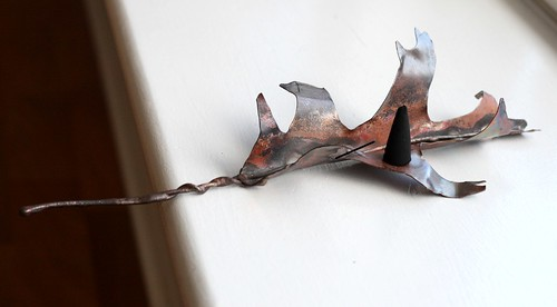 Copper Oak Leaf Incense Cone Burner Decoration