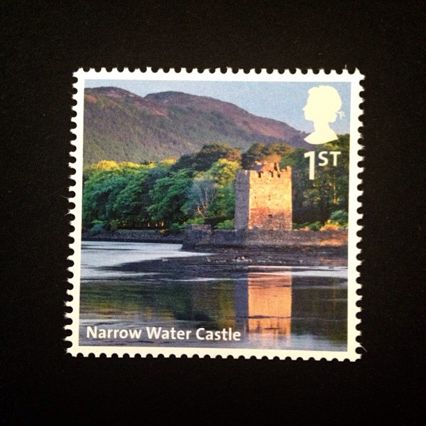 Day 8: Nature #castle #trees #river #sky #hillside #british #postagestamp #stamp #narrowwatercastle #uk #psjune #postalsociety