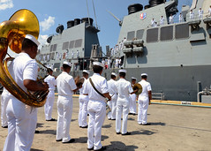 Members of the Philippine Navy band greet the guided-missile destroyer USS Fitzgerald (DDG 62) as the ship arrives June 27 for CARAT Philippines. (U.S. Navy photo by Mass Communication Specialist 1st Class Jay C. Pugh)