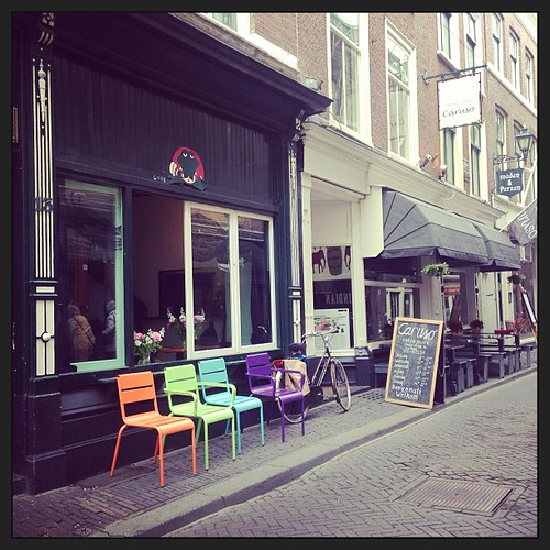 One of #my #favourite #streets in The Hague. I #love the chairs! Gorgeous burst of colour