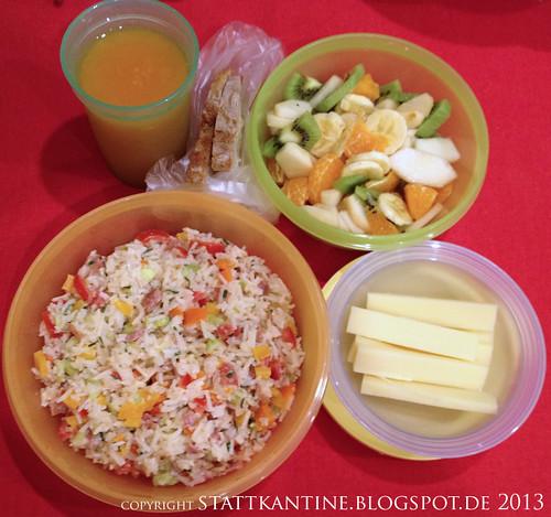 Stattkantine 13. Februar 2013 - Reissalat, Brot, Bergkäse, O-Saft, Obstsalat