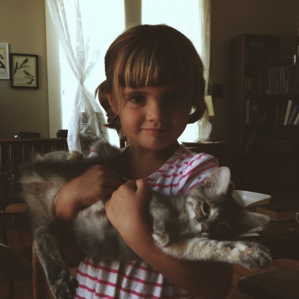 Beatrix and Pebbles. Our day's adventures  involved adopting a kitty from the shelter.