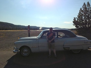 1951 Pontiac in front of Old Faithful