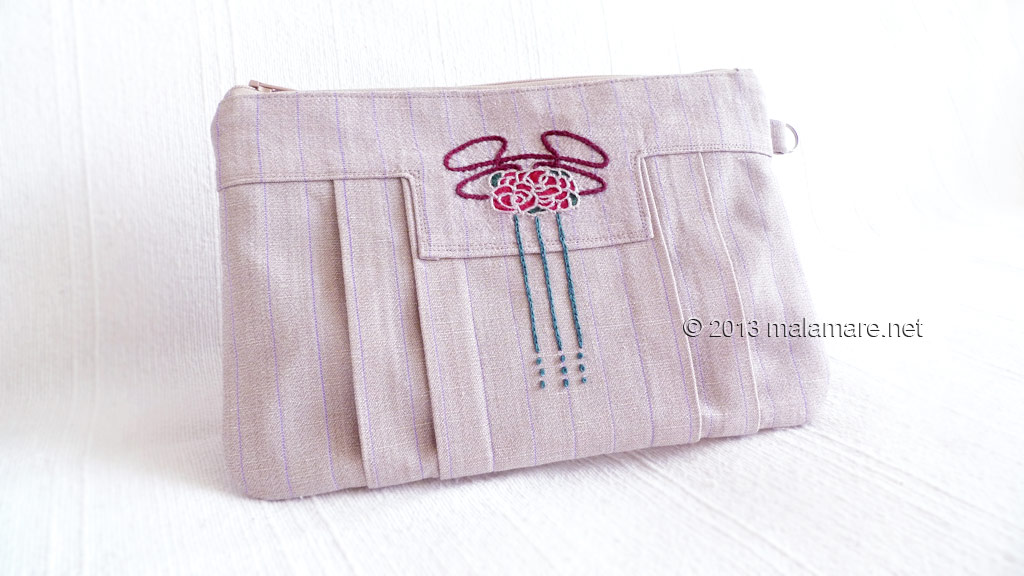 Art Deco inspired linen clutch bag