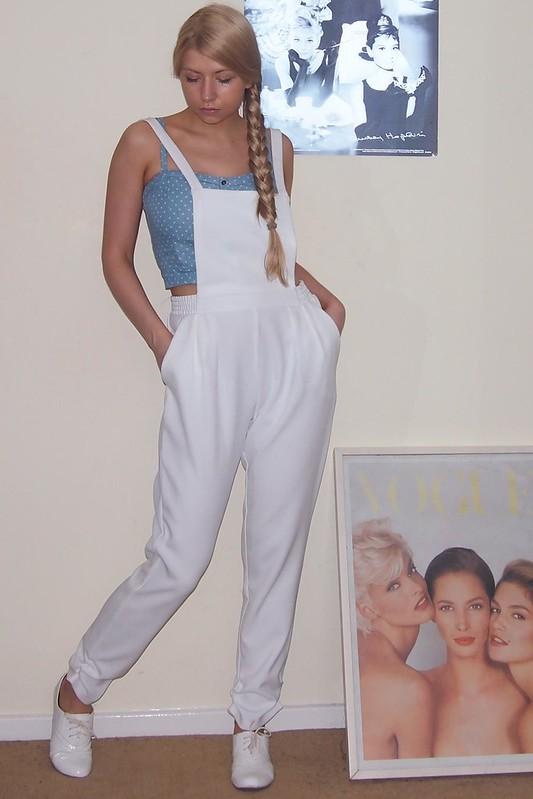 Sam Muses, Dungarees, Boohoo, Overalls, Pinafore, White, Crop Top, Peg Leg, Polka Dot, Bralet, New Look, Teens, Chambray, Denim, White Brogues, UK Fashion Blog, London Personal Style Blogger