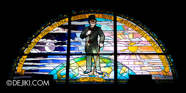 Tokyo DisneySea - Tower of Terror / stained glass - the world is mine oyster and I with sword shall open