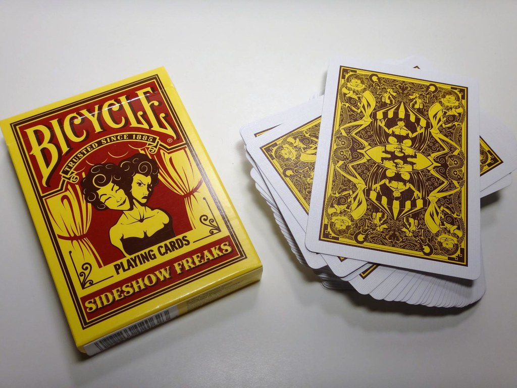 Bicycle Sideshow Freaks playing cards tuck box card back