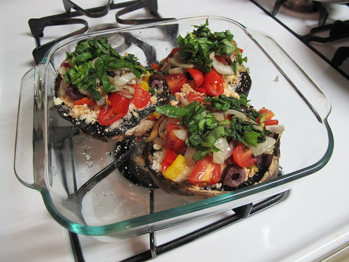"Supreme Portabella ""Personal Pan"" Pizza with Salmon"